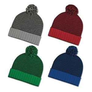 Knit Pom Striped Beanie Cuff Bulk Supplier