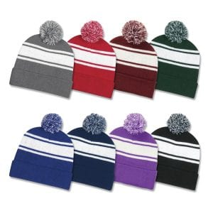 Two Tone Knit Pom Cuff Beanie Bulk Supplier